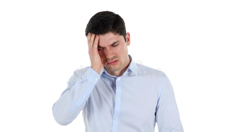 Πονοκέφαλος, ματαιωμένος όμορφος επιχειρηματίας, άσπρο υπόβαθρο στοκ φωτογραφία