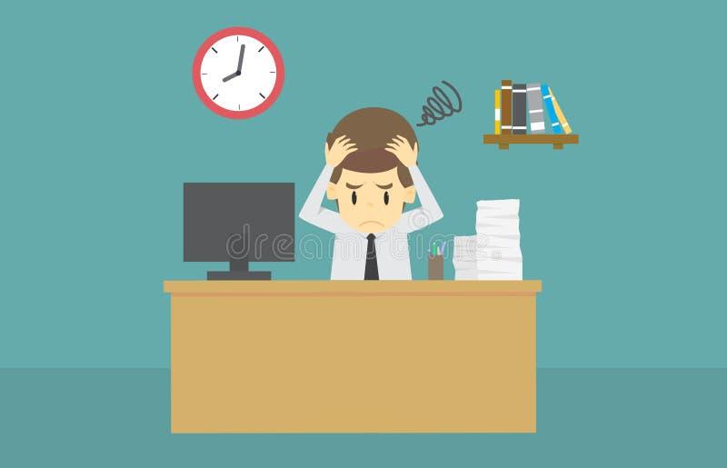 Πονοκέφαλος πίεσης επιχειρηματιών πολύ στην επιτραπέζια εργασία γραφείων σκληρή Carto ελεύθερη απεικόνιση δικαιώματος