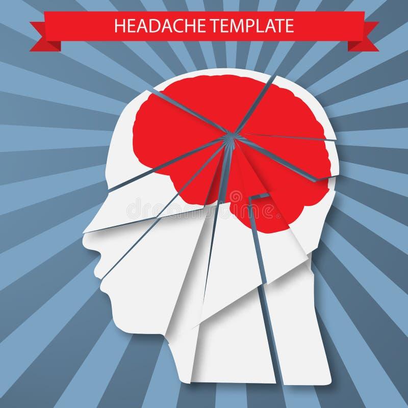Πονοκέφαλος Σκιαγραφία του ανθρώπινου κεφαλιού με τον κόκκινο εγκέφαλο ελεύθερη απεικόνιση δικαιώματος
