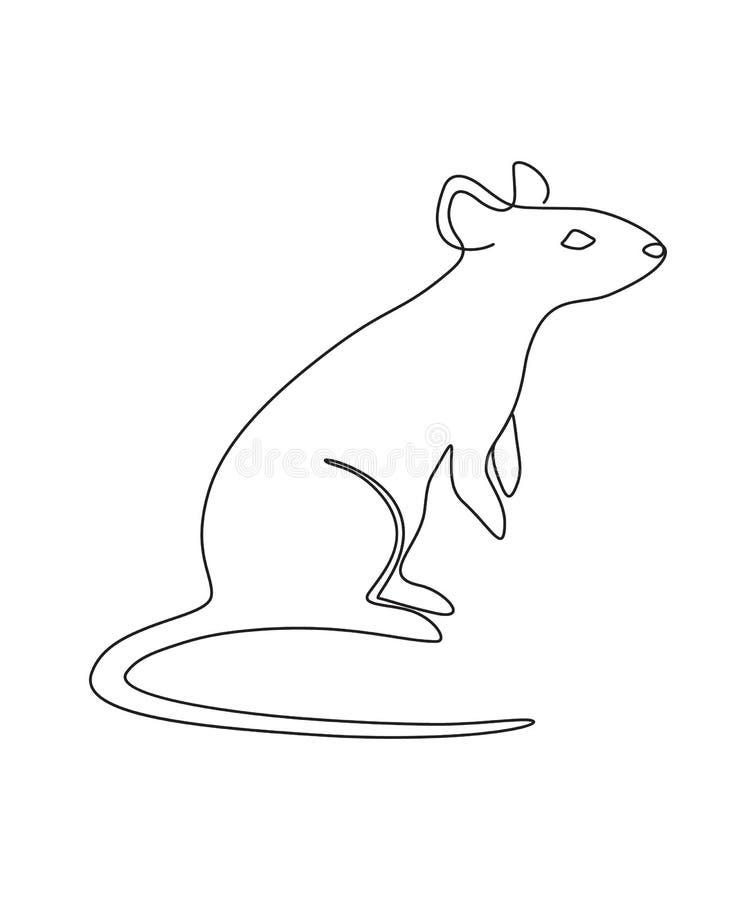 Ποντίκι ένα γραμμή ελεύθερη απεικόνιση δικαιώματος