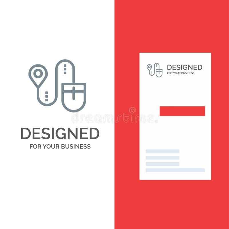 Ποντίκι, θέση, αναζήτηση, γκρίζο σχέδιο λογότυπων υπολογιστών και πρότυπο επαγγελματικών καρτών διανυσματική απεικόνιση