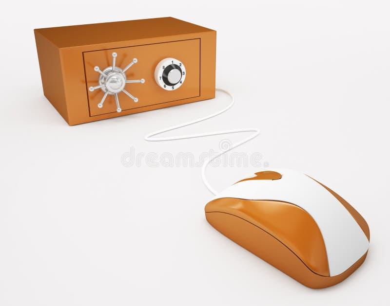 Ποντίκι και χρηματοκιβώτιο υπολογιστών ελεύθερη απεικόνιση δικαιώματος