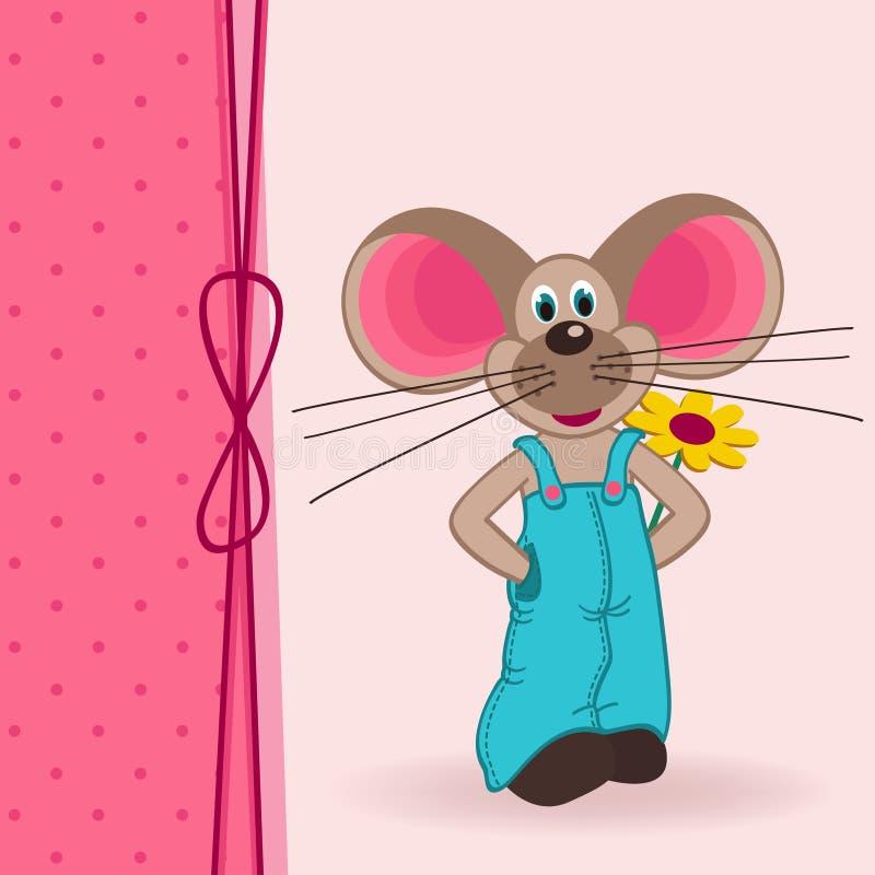 Ποντίκι με το λουλούδι ελεύθερη απεικόνιση δικαιώματος