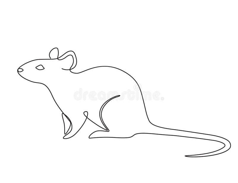 Ποντίκι 2 μια γραμμή διανυσματική απεικόνιση