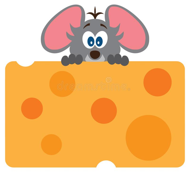 Ποντίκι μωρών με το τυρί διανυσματική απεικόνιση