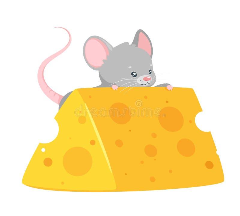Ποντίκι μωρών που τρώει την επίπεδη διανυσματική απεικόνιση τυριών διανυσματική απεικόνιση