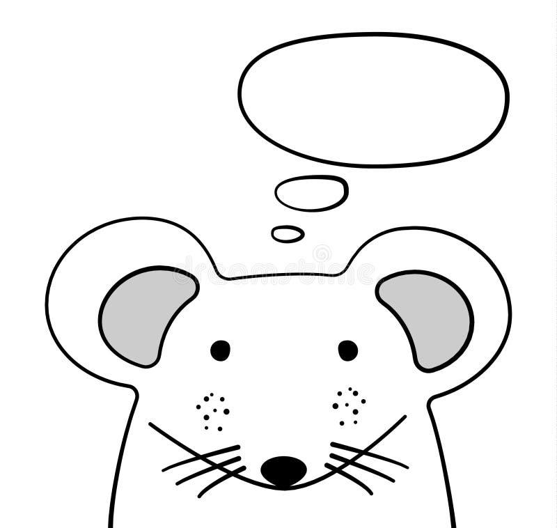 Ποντίκι σκίτσων Doodle με τη σκεπτόμενη διανυσματική απεικόνιση σύννεφων Ποντίκι κινούμενων σχεδίων και φυσαλίδα σκέψης ποντίκια  διανυσματική απεικόνιση