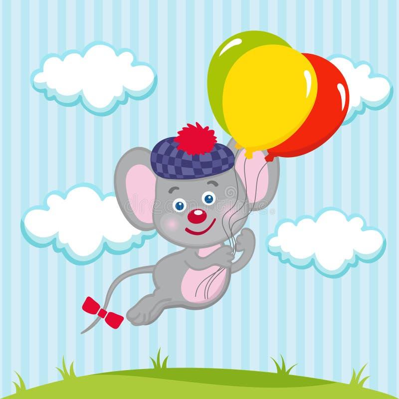 Ποντίκι στα μπαλόνια διανυσματική απεικόνιση