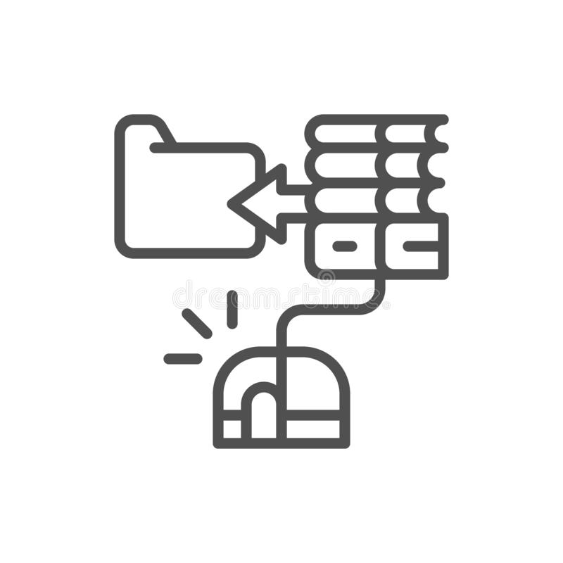 Ποντίκι υπολογιστών με το βιβλίο, σε απευθείας σύνδεση εκπαίδευση, εικονίδιο γραμμών βιβλιοθηκών Ιστού ελεύθερη απεικόνιση δικαιώματος