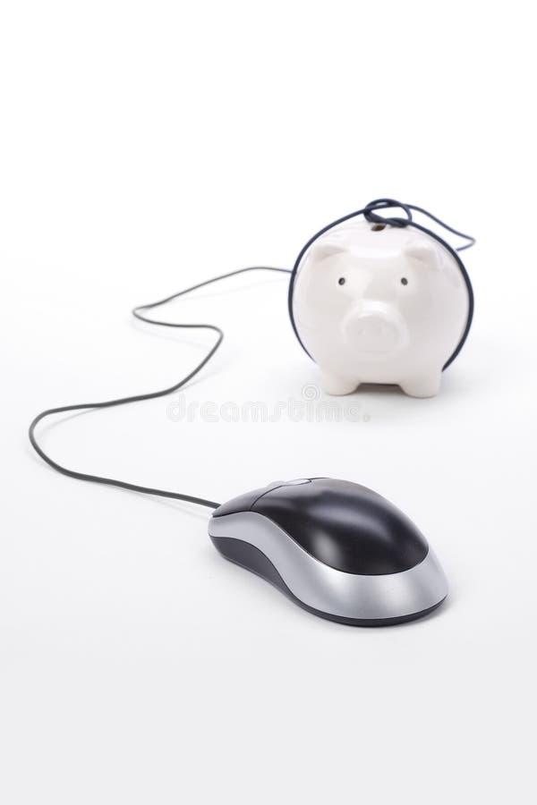 ποντίκι υπολογιστών τραπεζών piggy στοκ εικόνα με δικαίωμα ελεύθερης χρήσης