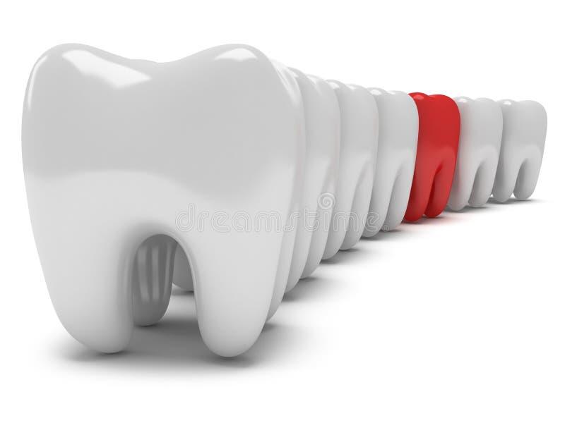 Πονώντας δόντι στη σειρά των υγιών δοντιών διανυσματική απεικόνιση