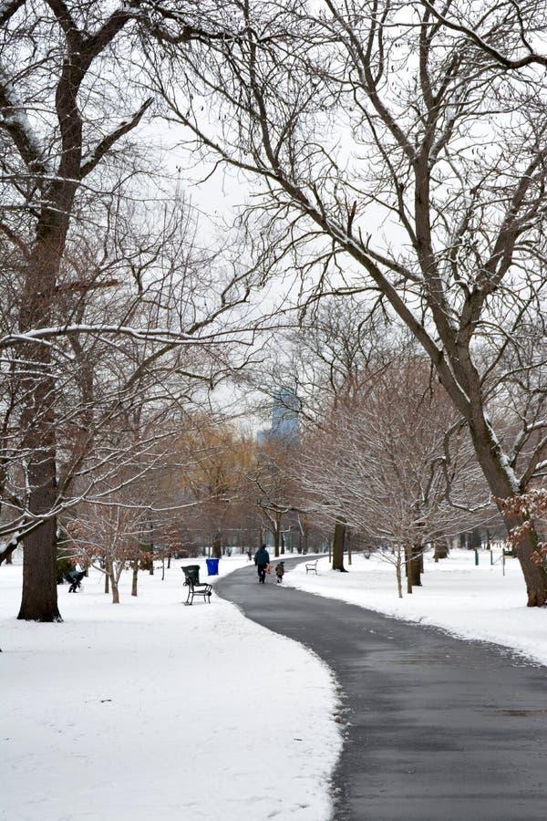 Πορεία μέσω του χιονιού μια γκρίζα ημέρα στοκ εικόνα με δικαίωμα ελεύθερης χρήσης