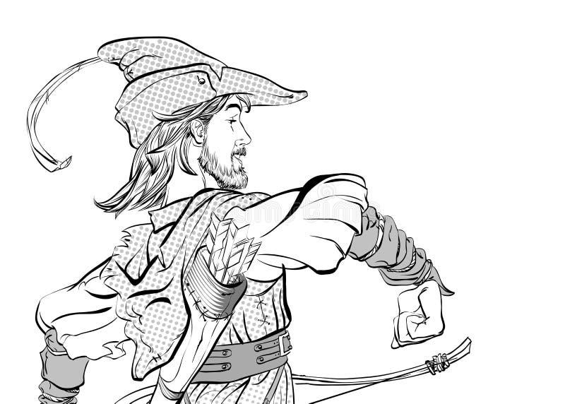 Πορεία Ρομπέν των Δασών Ρομπέν των Δασών σε ένα καπέλο με το φτερό Υπερασπιστής αδύνατου Μεσαιωνικοί μύθοι Ήρωες των μεσαιωνικών  απεικόνιση αποθεμάτων