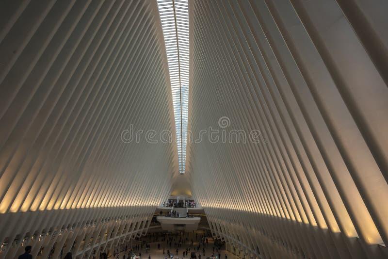 ΠΟΡΕΙΑ σταθμών του World Trade Center στο Μανχάταν στην πόλη της Νέας Υόρκης, ΗΠΑ στοκ φωτογραφίες