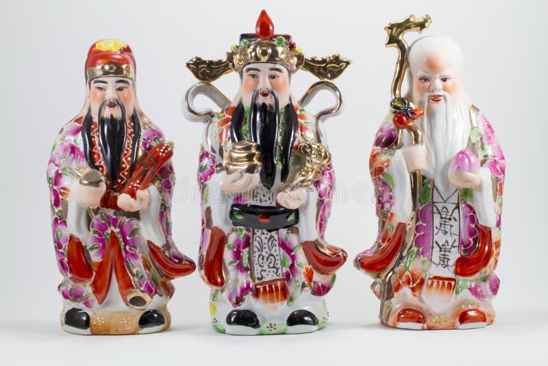 Πορσελάνη Hock Lok Siew ή Fu LU Shou, τρεις Θεοί των κινέζικων, στοκ φωτογραφίες με δικαίωμα ελεύθερης χρήσης