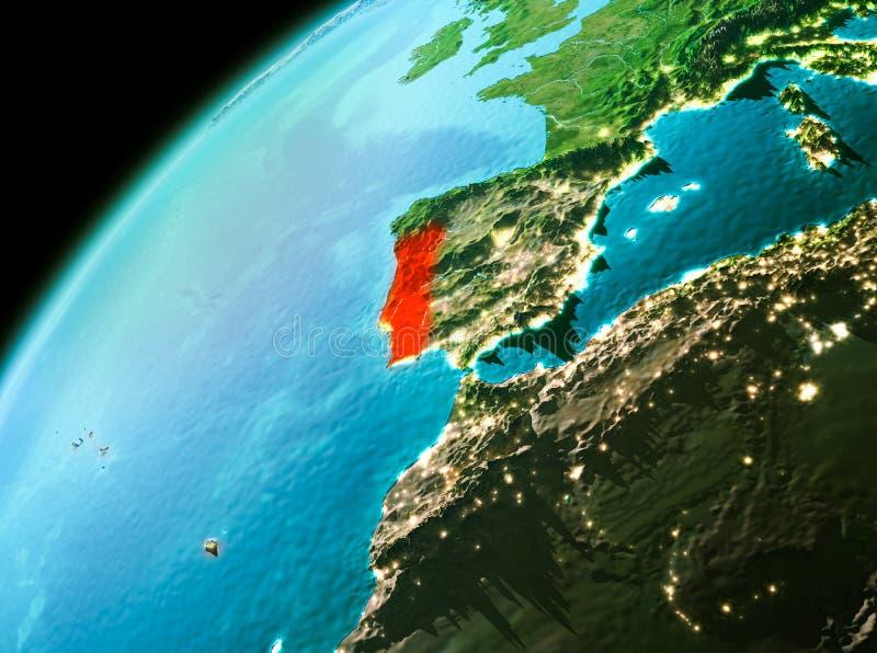 Πορτογαλία από το διάστημα το βράδυ απεικόνιση αποθεμάτων