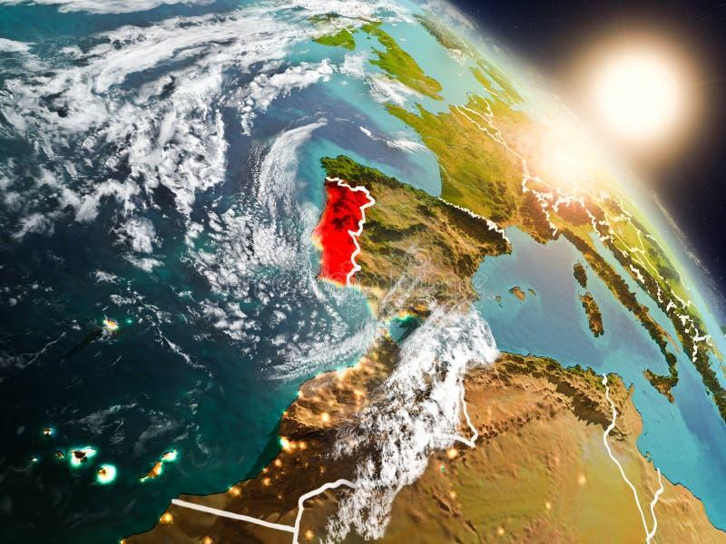 Πορτογαλία από το διάστημα κατά τη διάρκεια της ανατολής απεικόνιση αποθεμάτων
