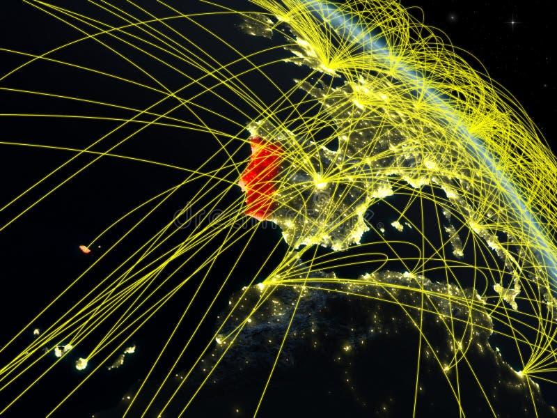 Πορτογαλία από το διάστημα με το δίκτυο απεικόνιση αποθεμάτων