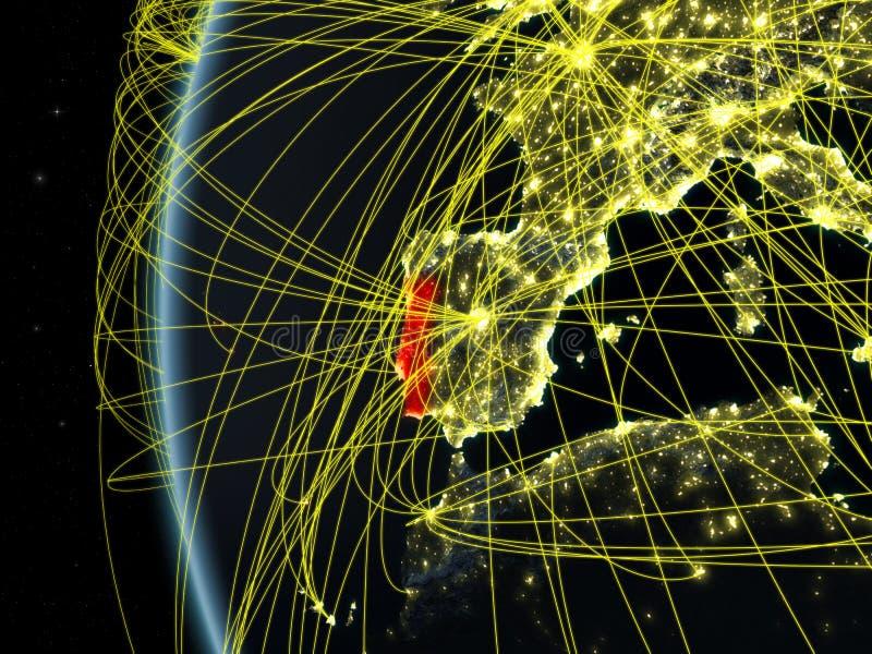 Πορτογαλία από το διάστημα με το δίκτυο ελεύθερη απεικόνιση δικαιώματος