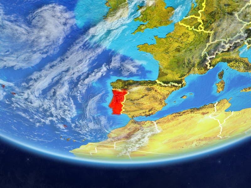 Πορτογαλία από το διάστημα στη γη απεικόνιση αποθεμάτων