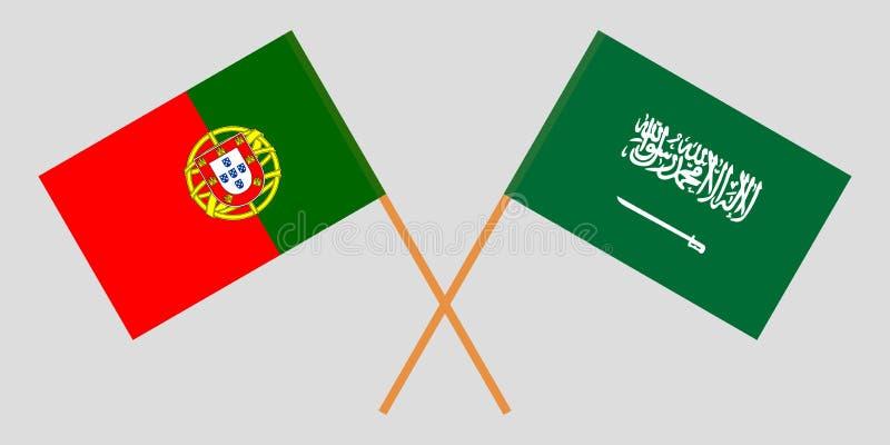 Πορτογαλία και βασίλειο της Σαουδικής Αραβίας Οι σημαίες των πορτογαλικών και KSA Επίσημα χρώματα Σωστή αναλογία r διανυσματική απεικόνιση