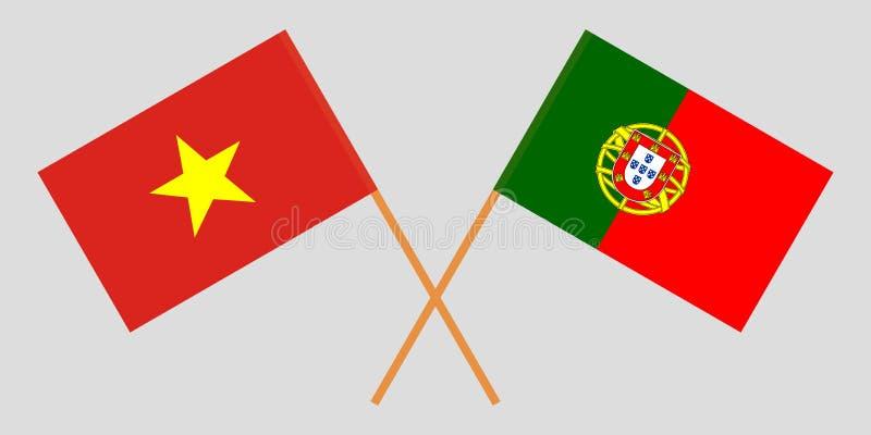 Πορτογαλία και Βιετνάμ Οι πορτογαλικές και βιετναμέζικες σημαίες Επίσημα χρώματα Σωστή αναλογία r διανυσματική απεικόνιση