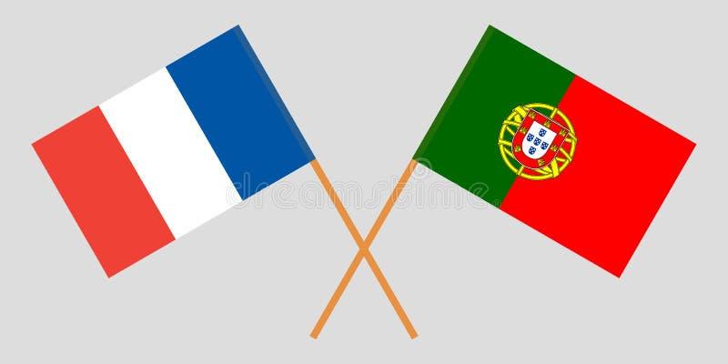 Πορτογαλία και Γαλλία Οι πορτογαλικές και γαλλικές σημαίες Επίσημα χρώματα Σωστή αναλογία r διανυσματική απεικόνιση