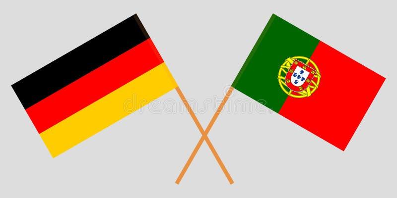 Πορτογαλία και Γερμανία Οι πορτογαλικές και γερμανικές σημαίες Επίσημα χρώματα Σωστή αναλογία r απεικόνιση αποθεμάτων