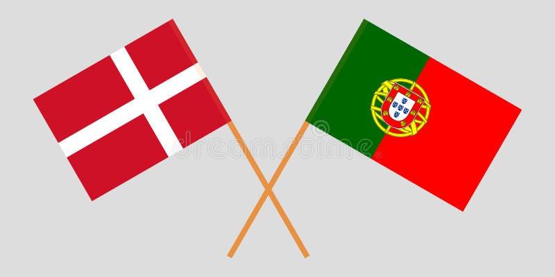 Πορτογαλία και Δανία Οι πορτογαλικές και δανικές σημαίες Επίσημα χρώματα Σωστή αναλογία r απεικόνιση αποθεμάτων