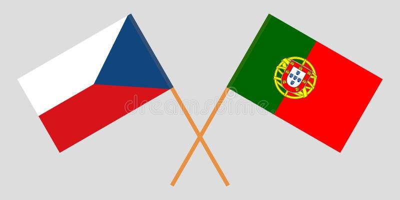 Πορτογαλία και Δημοκρατία της Τσεχίας Οι πορτογαλικές και τσεχικές σημαίες Επίσημα χρώματα Σωστή αναλογία r απεικόνιση αποθεμάτων