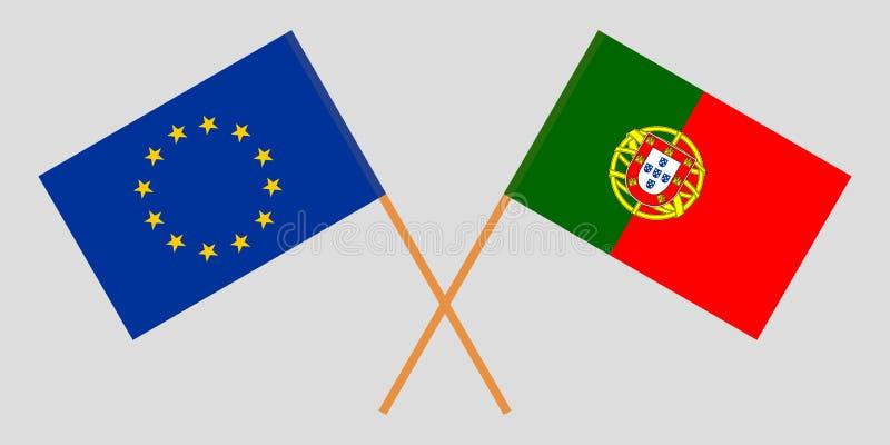 Πορτογαλία και ΕΕ Οι πορτογαλικές και ευρωπαϊκές σημαίες Επίσημα χρώματα Σωστή αναλογία r ελεύθερη απεικόνιση δικαιώματος