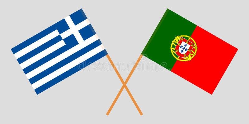 Πορτογαλία και Ελλάδα Οι πορτογαλικές και ελληνικές σημαίες Επίσημα χρώματα Σωστή αναλογία r διανυσματική απεικόνιση