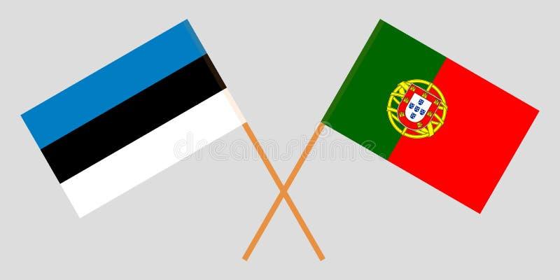Πορτογαλία και Εσθονία Οι πορτογαλικές και εσθονικές σημαίες Επίσημα χρώματα Σωστή αναλογία r απεικόνιση αποθεμάτων
