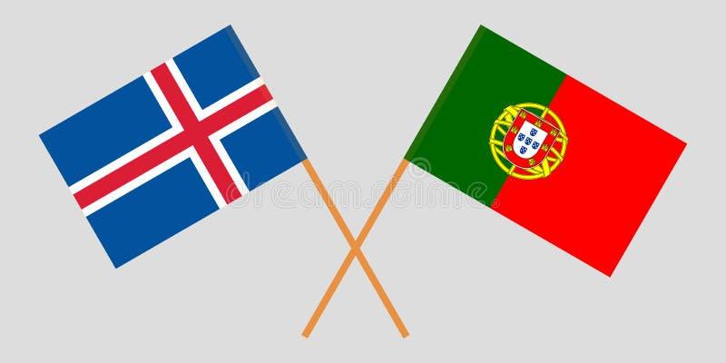 Πορτογαλία και Ισλανδία Οι πορτογαλικές και ισλανδικές σημαίες Επίσημα χρώματα Σωστή αναλογία r απεικόνιση αποθεμάτων