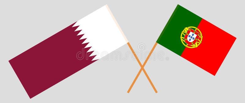 Πορτογαλία και Κατάρ Οι σημαίες των πορτογαλικών και Qatari Επίσημα χρώματα Σωστή αναλογία r απεικόνιση αποθεμάτων