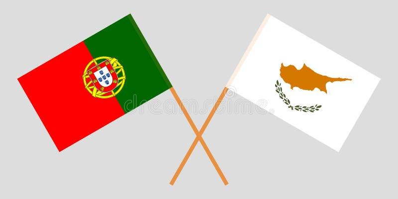 Πορτογαλία και Κύπρος Οι πορτογαλικές και κυπριακές σημαίες Επίσημα χρώματα Σωστή αναλογία r απεικόνιση αποθεμάτων