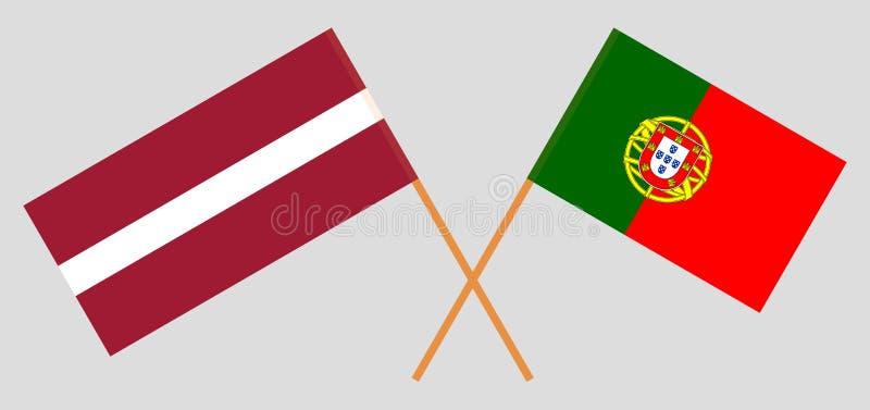 Πορτογαλία και Λετονία Οι πορτογαλικές και λετονικές σημαίες Επίσημα χρώματα Σωστή αναλογία r ελεύθερη απεικόνιση δικαιώματος