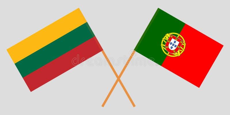 Πορτογαλία και Λιθουανία Οι πορτογαλικές και λιθουανικές σημαίες Επίσημα χρώματα Σωστή αναλογία r διανυσματική απεικόνιση