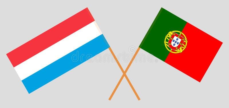 Πορτογαλία και Λουξεμβούργο Οι πορτογαλικές και του Λουξεμβούργου σημαίες Επίσημα χρώματα Σωστή αναλογία r ελεύθερη απεικόνιση δικαιώματος