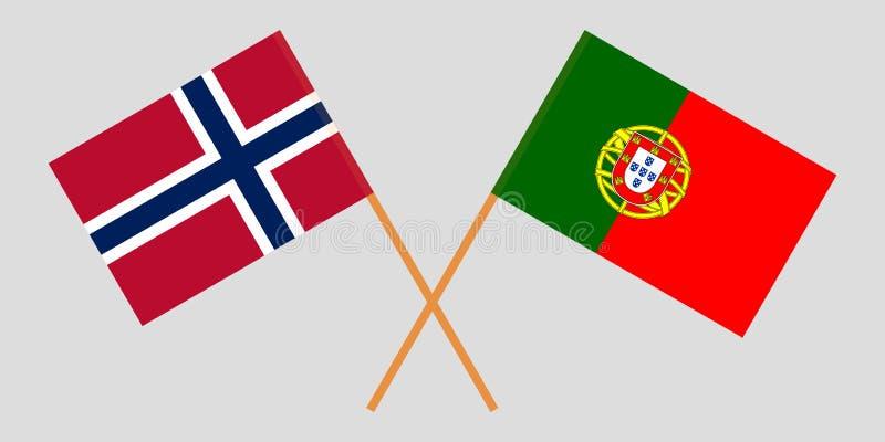 Πορτογαλία και Νορβηγία Οι πορτογαλικές και νορβηγικές σημαίες Επίσημα χρώματα Σωστή αναλογία r διανυσματική απεικόνιση