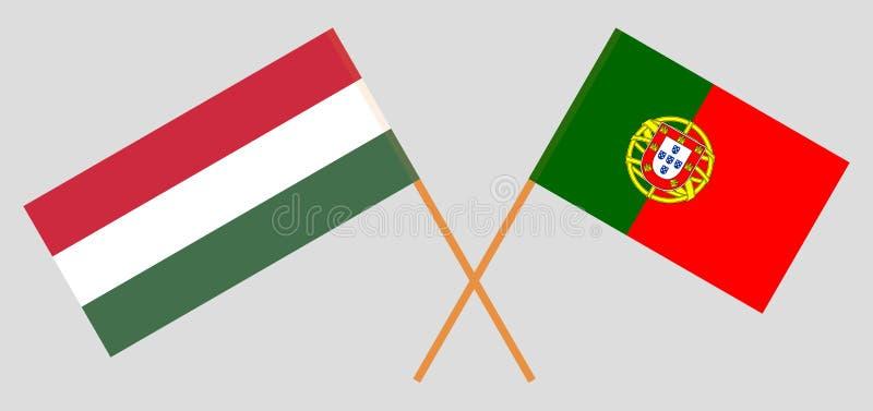 Πορτογαλία και Ουγγαρία Οι πορτογαλικές και ουγγρικές σημαίες Επίσημα χρώματα Σωστή αναλογία Vecto διανυσματική απεικόνιση