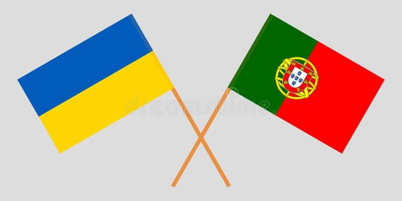 Πορτογαλία και Ουκρανία Οι πορτογαλικές και ουκρανικές σημαίες Επίσημα χρώματα Σωστή αναλογία r διανυσματική απεικόνιση
