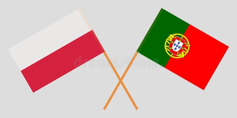 Πορτογαλία και Πολωνία Οι πορτογαλικές και πολωνικές σημαίες Επίσημα χρώματα Σωστή αναλογία r διανυσματική απεικόνιση