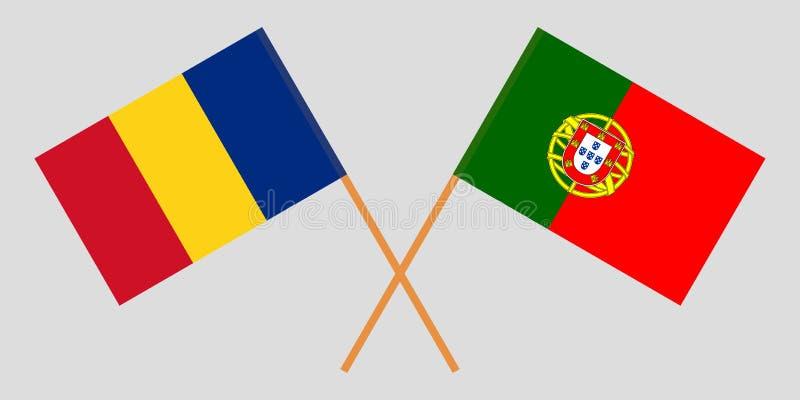 Πορτογαλία και Ρουμανία Οι πορτογαλικές και ρουμανικές σημαίες Επίσημα χρώματα Σωστή αναλογία r απεικόνιση αποθεμάτων