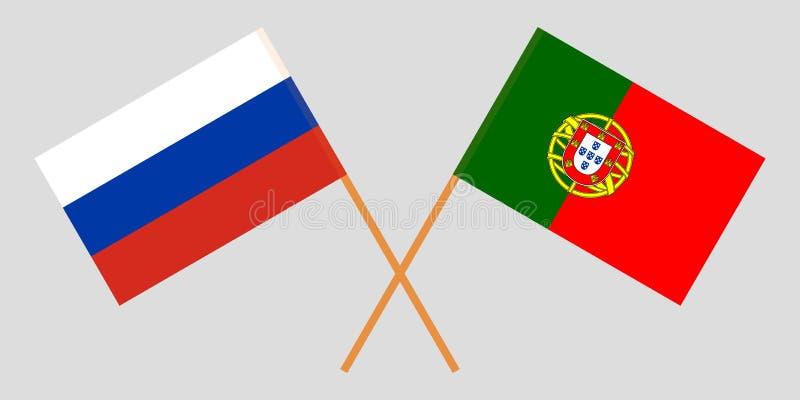 Πορτογαλία και Ρωσία Οι πορτογαλικές και ρωσικές σημαίες Επίσημα χρώματα Σωστή αναλογία r απεικόνιση αποθεμάτων