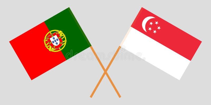 Πορτογαλία και Σιγκαπούρη Οι πορτογαλικές και σιγκαπούριος σημαίες Επίσημα χρώματα Σωστή αναλογία r απεικόνιση αποθεμάτων