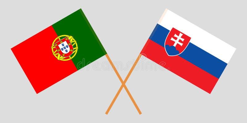 Πορτογαλία και Σλοβακία Οι πορτογαλικές και σλοβάκικες σημαίες Επίσημα χρώματα Σωστή αναλογία r ελεύθερη απεικόνιση δικαιώματος