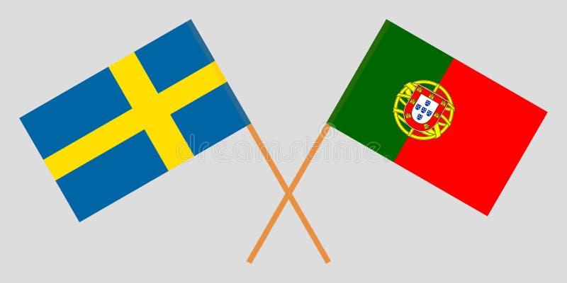 Πορτογαλία και Σουηδία Οι πορτογαλικές και σουηδικές σημαίες Επίσημα χρώματα Σωστή αναλογία r απεικόνιση αποθεμάτων