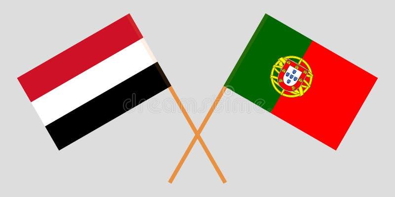 Πορτογαλία και Υεμένη Οι σημαίες των πορτογαλικών και Γιεμενιτών Επίσημα χρώματα Σωστή αναλογία r ελεύθερη απεικόνιση δικαιώματος