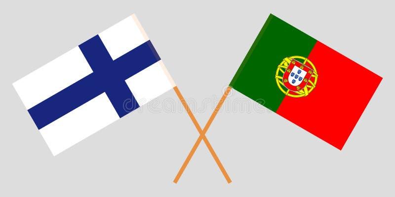 Πορτογαλία και Φινλανδία Οι πορτογαλικές και φινλανδικές σημαίες Επίσημα χρώματα Σωστή αναλογία r απεικόνιση αποθεμάτων
